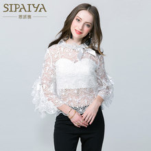 2017 sexy women's lace shirts perspective shirts female see through blouses white