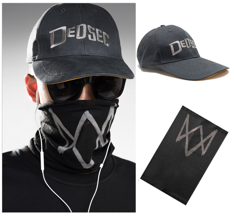 2016 Game Watch Dogs 2 WD2 Marcus Holloway Cosplay Unisex Black Face Mask Dedsec Cappello del Partito di Halloween