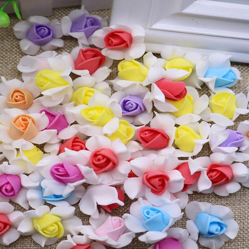Оптовая продажа 100 шт./лот 2,5 см Искусственный ЧП розы голову искусственные цветы, искусственные пены растений для DIY гирлянды вечерние свадебные dec