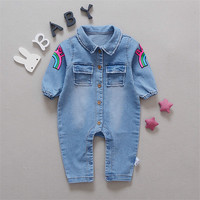 Baby Romper Soft Denim Fashion Rainbow And Giraffe Styles Infant Clothes Newborn Jumpsuit Babies Boy Girls