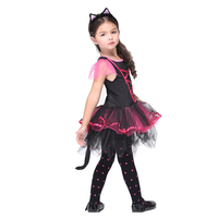 Girls Halloween Party Cosplay Catwoman Costumes Tutu Fancy Dress With Headband