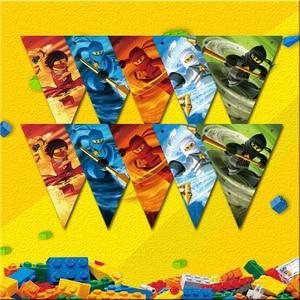Image 2 - Party Supplies 50pcs สำหรับ 12 เด็กใหม่ Ninjagoing Birthday PARTY ตกแต่งชุด, จาน + ถ้วย + ฟาง + ธง + tablecover