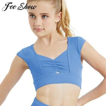 Czapka dziecięca rękawy ściśnięta przednia koszulka typu Crop top na taniec baletowy gimnastyka topy pokaz sceniczny trening dla dzieci zajęcia taneczne odzież do ćwiczeń