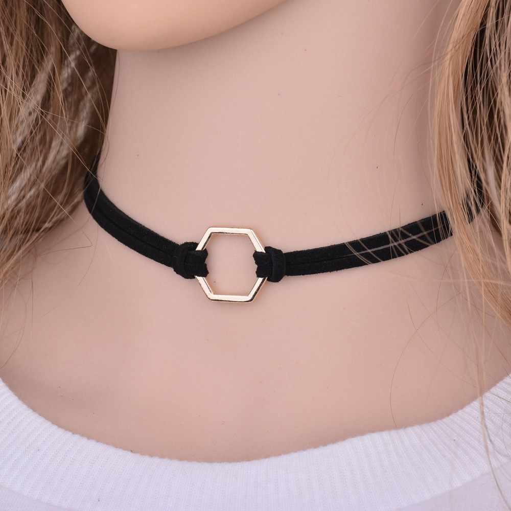 Thời Trang đơn giản Trang Sức Vàng-màu Hình Học Màu Đen Nhung Da Choker Necklaces & Mặt Dây Đối Với Phụ Nữ Gothic Collares Chocker