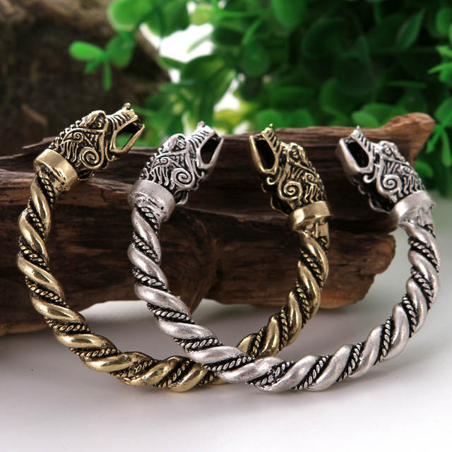 US $12 99  Massive Viking Wolf Bracelet Pagan Bangle Drop Shipping  Wristband Friend Gift Nordic Vikings Cuff -in Bangles from Jewelry &  Accessories on
