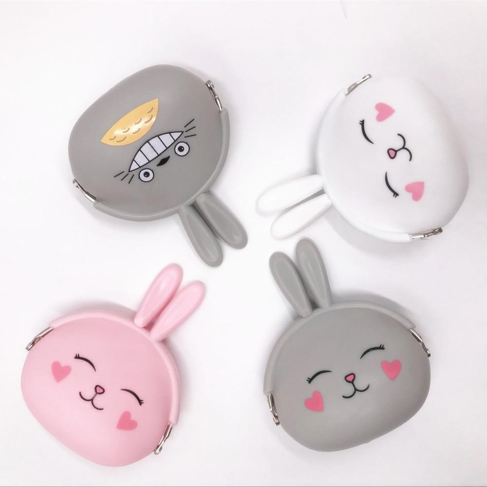 Korea candy color Cute NEW  Silica gel coin purse Cartoon rabbit Key case Soft coin pouch cute rabbit silicone soft case