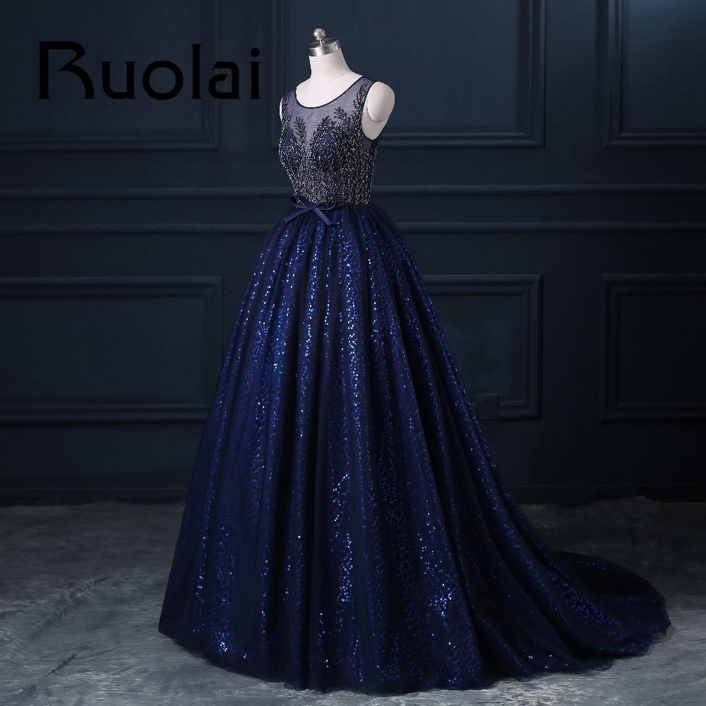 2017 Mewah Diraja Blue Berat Beaded Ball Gaun Petang Sifon Sequined - Gaun acara khas - Foto 2