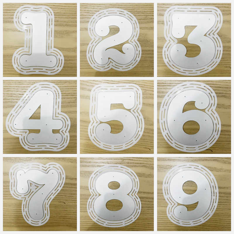 SXLFY Numbers 0-9 Metal Cutting Dies for Card Making and Scrapbooking Birthday DIY Craft Die Cuts