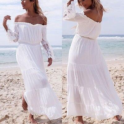 dede988dc2 Fashion Womens Off Shoulder Maxi Dress Long Sleeve Evening Party Dress  Summer Beach Sundress Long Sleeves Lace Patchwork Dress