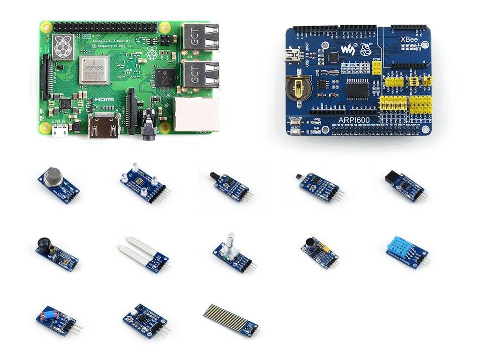 3 Raspberry Pi Modelo B +, a Terceira Geração Pi Development Kit, Placa de Expansão ARPI600, Vários Sensores