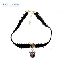 Sansummer New Hot Fashion Cartoon Black Cat Pearl Hollow Butterfly Lace Girl Bohemia Cute Necklace For Womens Jewelry