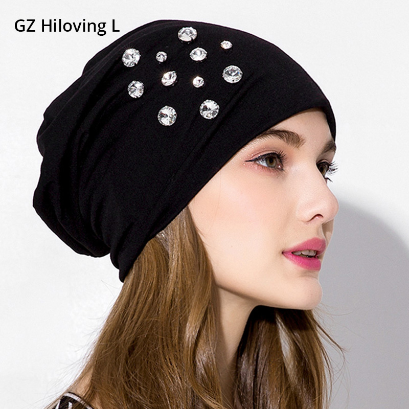 GZHilovingL 2018 Women Casual Cotton Slouchy Skullies Beanies Mulher Hip Hop Solid Black Color Beanie Hat Rhinestone For Ladies beanie