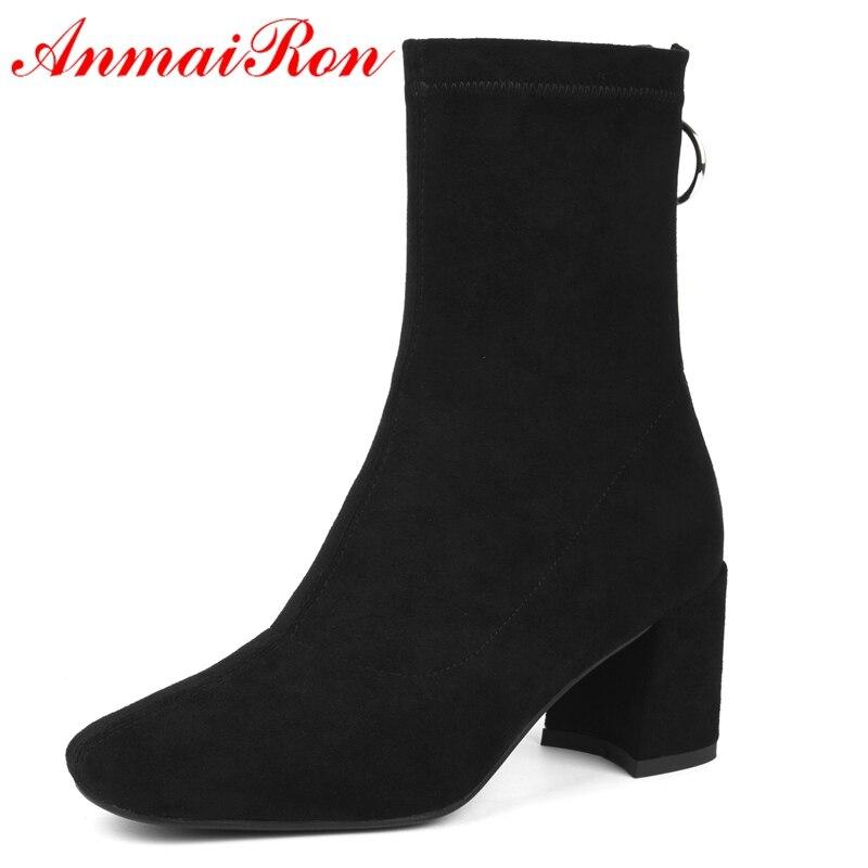 Del Black Básica 40 Ly183 Tobillo De Dedo Anmairon Moda brown Pie Mujeres Zapatos Invierno Cuadrado Size34 Nueva Mujer Botas gqwSTxCI
