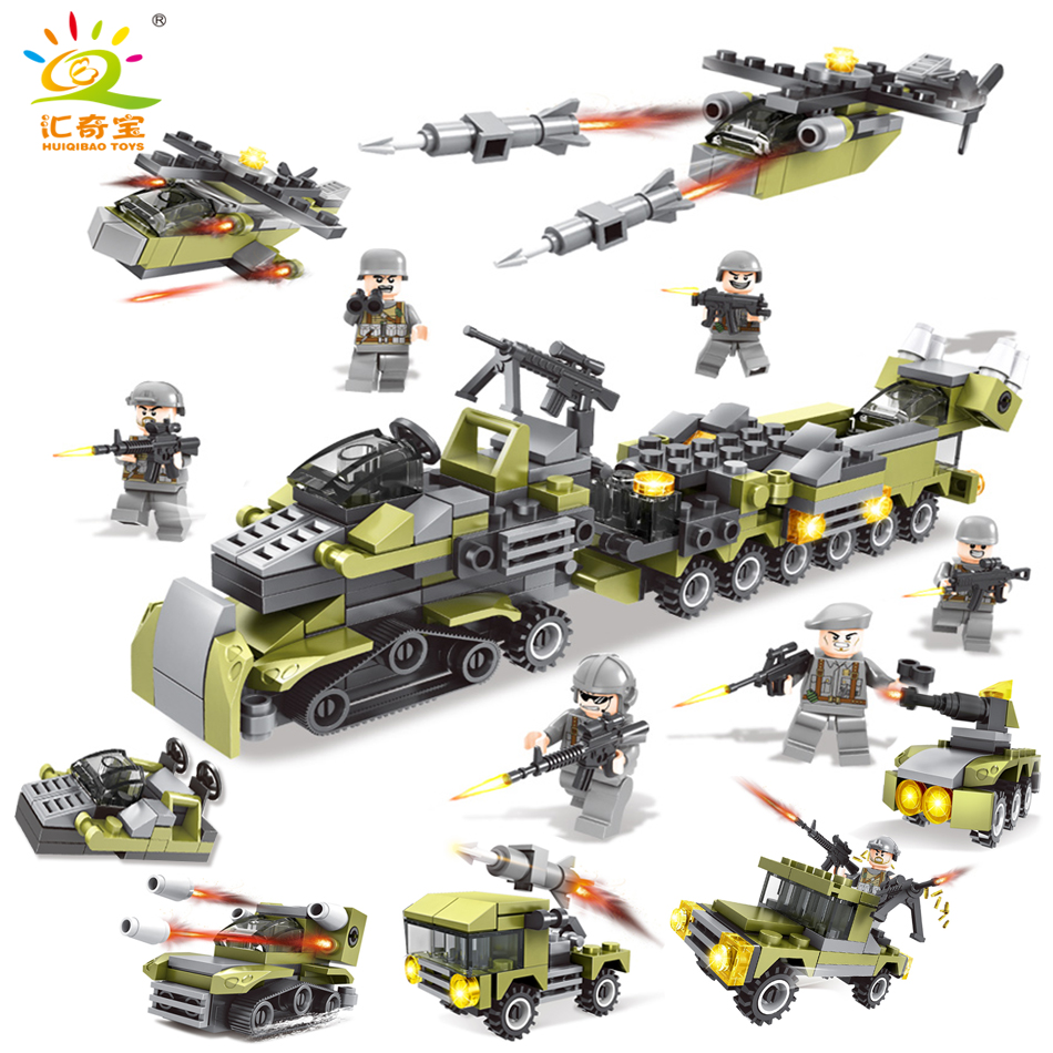 296PCS Military Building Blocks Army Cars Helicopter Soldiers with Weapons Compatible Legoed Educational Toys For Children Gift pvc building blocks army field combat military escort weapons