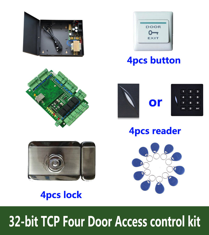 RFID 32-bit access control kit,TCP/IP four door access control+powercase+intelligent lock+ID reader+button+10 ID tag,sn:kit-T409 biometric face and fingerprint access controller tcp ip zk multibio700 facial time attendance and door security control system