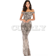 CUERLY Off Shoulder Black Maxi Gold Dress 2019 Floor Length Bodycon Sequin Dress Women Strapless Formal Party Gown Sexy Dress