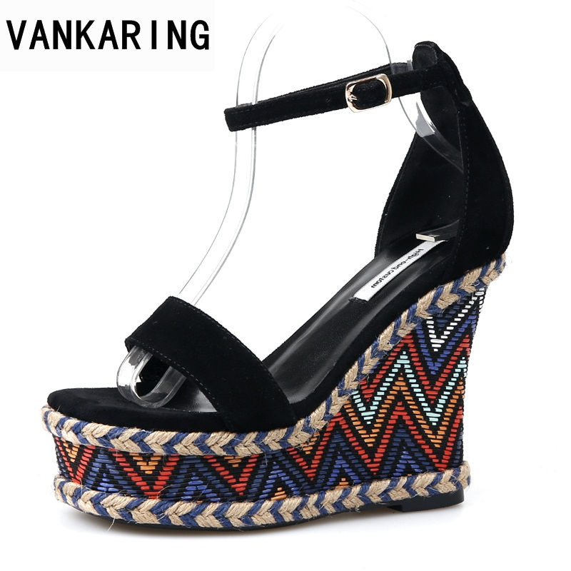 VANKARING women shoes 2018 summer fashion wedges high heels open toe platform shoes woman dress party casual gladiator sandals 32 43 big size summer woman platform sandals fashion women soft leather casual silver gold gladiator wedges women shoes h19