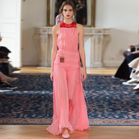 HIGH QUALITY Newest 2017 Designer Runway Dress Sleeveless Pink Sweet Folds Lotus Leaf Dress Elegant Women