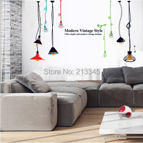 [Saturday Mall] - simple fashion color chandelier lamp wall decor stickers in the room bedroom home art decals mural 6827