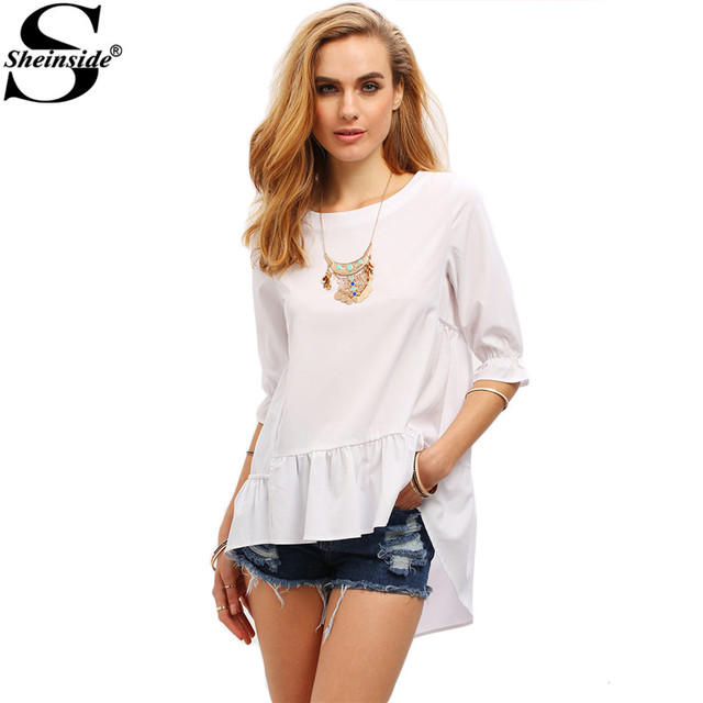 Sheinside 2016 New Style  White Half Sleeve High Low Ruffle Hem Tops Women Plain Shirt Round Neck Loose Blouse