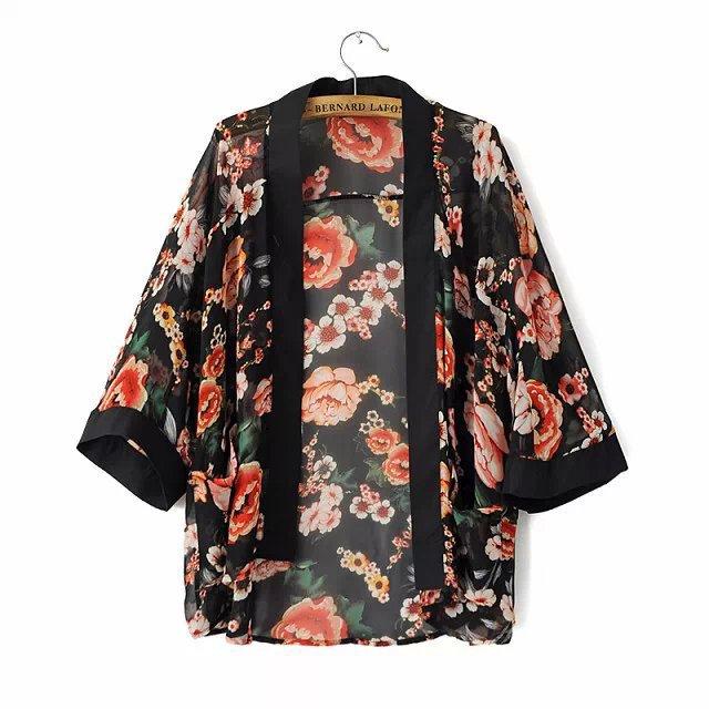 Wkm050  femmes imprimé Floral en mousseline de soie Kimono cardigan, Mode  dames fleur frange, Feminino Femme Kimonos dans Blouses \u0026 Chemises de Mode  Femme