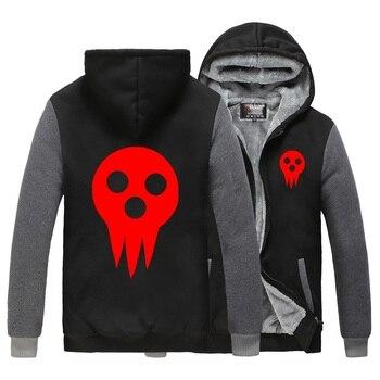 Anime Cos Soul Eater MAKA ALBARN Coat hooded hoodie feece jacket Cardigan Soul Eater Black Star thick mens hoodie jacket фото