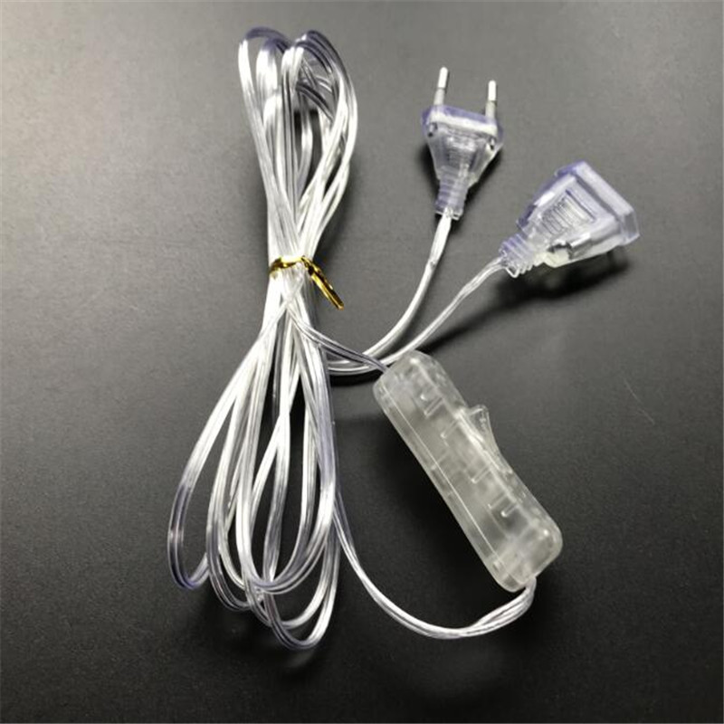 3M Extender Wire with On/Off Switch EU US plug 220V 110V <font><b>for</b></font> Christmas LED String <font><b>Light</b></font> Garden <font><b>Home</b></font> Wedding Party <font><b>Decoration</b></font> image