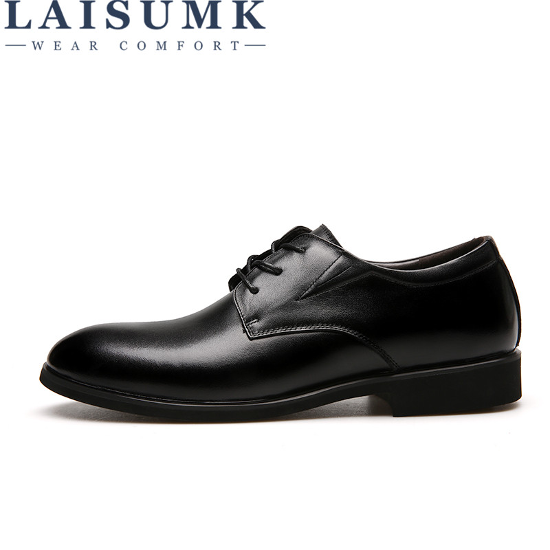 2019 LAISUMK Big Size 6 14 Men Business Genuine Leather Shoes Lace up Men Classic Wedding Formal Shoes in Men 39 s Casual Shoes from Shoes