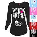 """""""Skeleton"""" Peekaboo serie de normas para las mujeres embarazadas Ouma personalidad de la moda 100% algodón de maternidad Camiseta larga"""