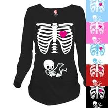 """Skeleton""Peekaboo series of standards for pregnant women Ouma fashion personality 100% cotton maternity long T-shirt"