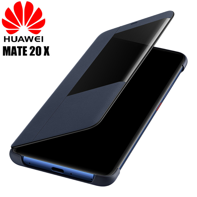 san francisco 1cfc4 46584 US $19.11 61% OFF|Huawei Mate 20 X case original official Huawei mate 20 X  flip case Smart touch view window pu Leather cover Mate 20X phone cases-in  ...