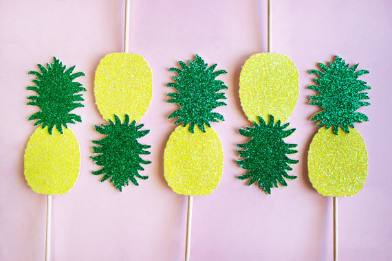 Glitter Pineapple Fiesta Luau Tropical Cupcake Toppers Hen Night Wedding Party Engagement Toothpicks Birthday Cake Decorations