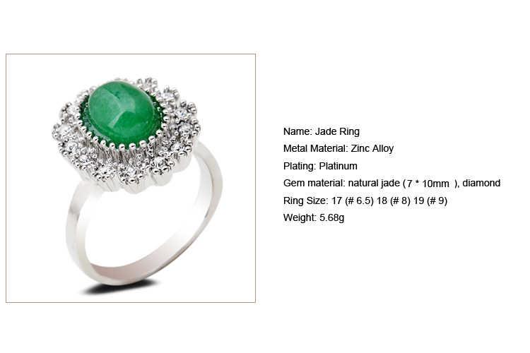 สีเขียวธรรมชาติหยกหินแหวนชุดรังผึ้งคริสตัลอินเทอร์เฟซอัญมณีโบราณเงิน 7/8/9 เลือกขนาดสำหรับเครื่องประดับ Party Party
