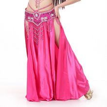 Professional Women Belly Dancing Clothes Full Circle Skirts Satin Belly Dance Skirt (Fuchsia)