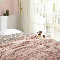 Junwell Summer Cotton / Bamboo Muslin Blanket Yarn Dyed Bed Sofa Travel Breathable Leopard Dobby Large Soft Throw Blanket
