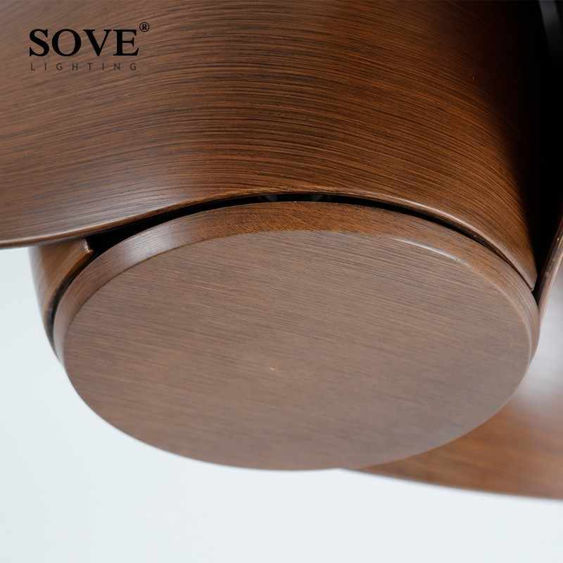 Sove 52 дюйма коричневый цвет LED потолочный вентилятор для дома декор люстра с вентилятором дистанционное управление высокое качество DC 220V лофт для спальни веер потолочный