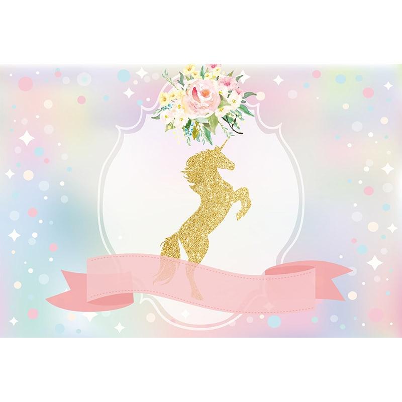 PA-008 Gold Unicorn Party Photo Background Happy Birthday Photography Backdrops Baby Newborn Child
