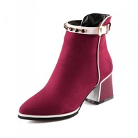Flock Pointed Toe High Boots New Flock Square heel High Boots Black blue red warm winter boots women new Platform boots