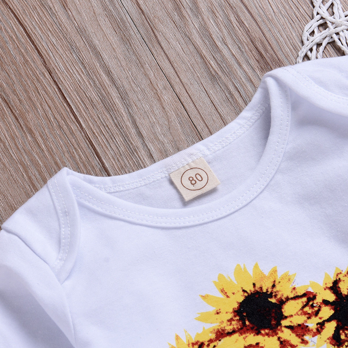 81bc3393a Newborn Baby Girl Sunflower Outfits Set Fashion New Long Sleeve