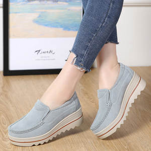 f53ee8ddccf9 Women Casual Shoes 2018 New Fashion Platform Sneakers Female Genuine  Leather Wedges Heel Flats Shoes Creepers Shoes Woman