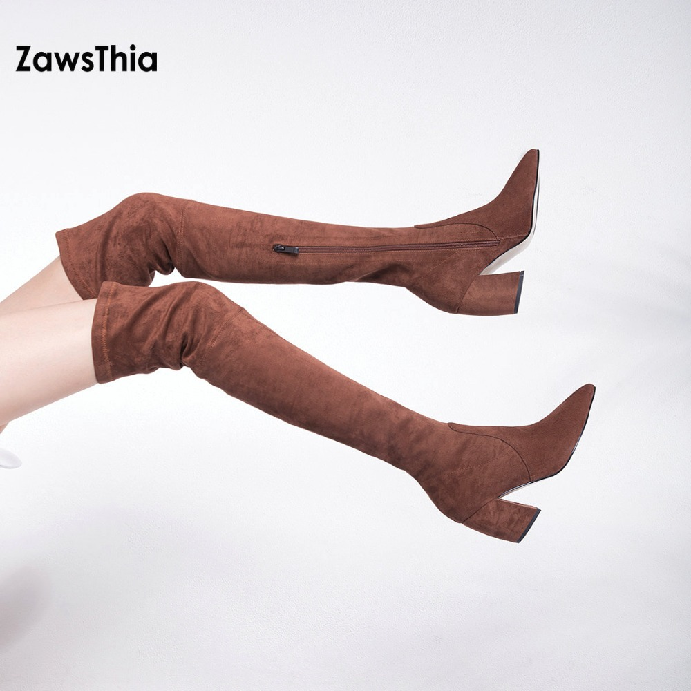 ZawsThia winter spring sheepskin stretch fabric genuine leather women thigh high boot over the knee high boots high heels pumps
