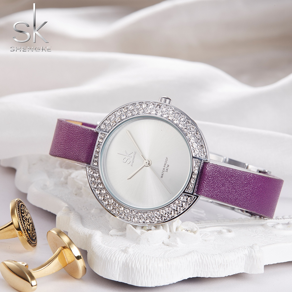 SK Brand Luxury Women's Watches Leather Rose Gold Casual Quartz Watch Ladies Diamonds Clock Women Dress Watch Relogio Feminino
