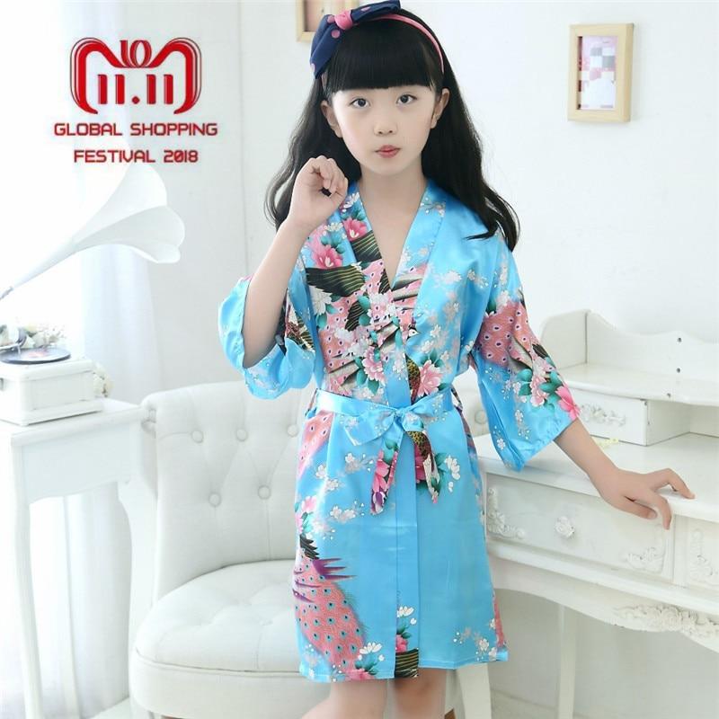 Kids Robe Satin Children Summer Kimono Bath Robes Bridesmaid Flower Girl Dress Silk Children's Bathrobe Nightgown Peacock Robe
