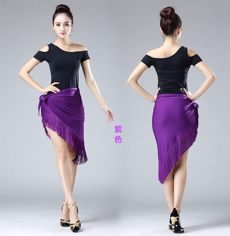New Lady Fringed Triangle Latin Dress Sexy One Skirt Adult Skirt Latin Dance Dress Costume Women's Black Practice Skirt