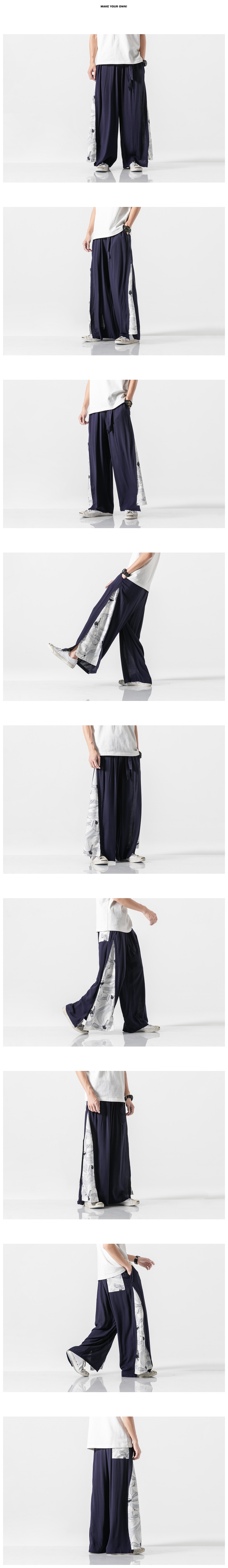 Sinicism Store 2020 Summer Chinese Style Cotton Pants Mens Patchwork Vintage Loose Pants Male Wide Leg Pants 25