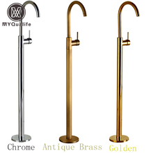 Wholesale And Retail Chrome Brass Bath Tub Faucet Floor Mounted Tub Filler Single Pole Swivel Spout Bathtub Mixer Taps