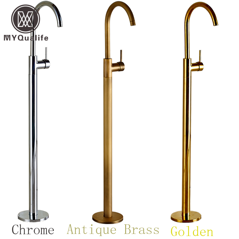Wholesale And Retail Chrome Brass Bath Tub Faucet Floor Mounted Tub Filler Single Pole Swivel