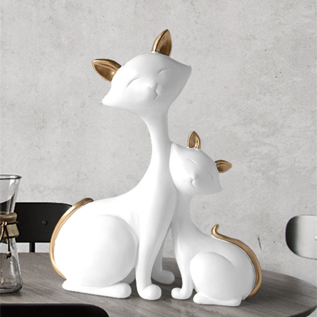 creative mother and child cats ornaments home decor crafts animal resin figurines for living room desktop furnishings decoration