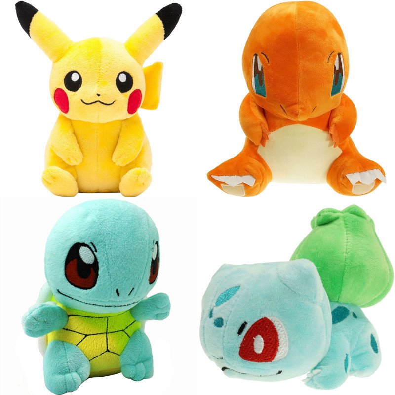 Cute Pikachu Bulbasaur Eevee Mewtwo Charmander Squirtle Plush Toys Soft Stuffed Grab Machine Doll For Children Amused Gift