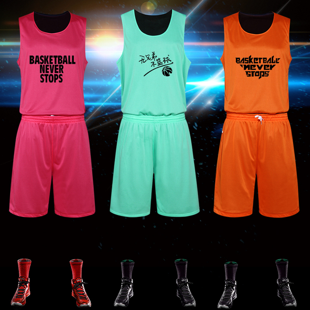 ec8dc0e98ec7 Reversible Two-sides Jersey and Shorts 2PCS Men Basketball Clothes Set M-5XL  Team Sportsear Shirt Suit Summer Custom Name Number